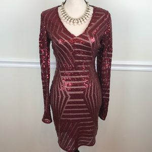 Windsor Maroon Sequin Long Sleeve Mini Dress